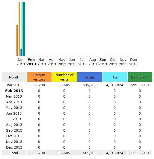 CompetitionX Site Statistics – January 2013